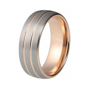 Soft Rose Color Tungsten Domes Shape with Silver Brushed Matte Surface Wedding & Anniversary Ring