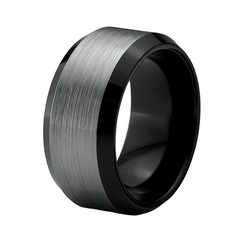 10mm Grey Brushed Matte Black Tungsten Carbide Wedding Ring
