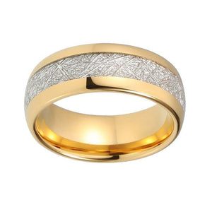 8mm Yellow Gold Plated Tungsten with Meteorite Inlay Unisex Ring - Innovato Store