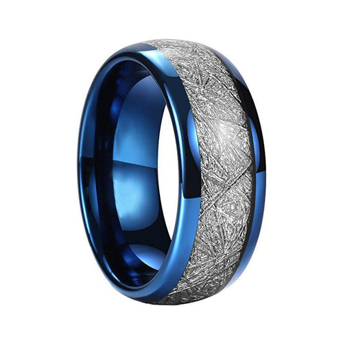 Stunning Blue Plated Silver Meteorite Inlay Men's Dome Shape Wedding Band