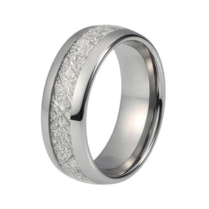 8mm Men's Imitated Meteorite Silver Tone Tungsten Wedding Engagement Band - Innovato Store