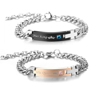 Black and Rose Gold King and Queen Couple Bracelets