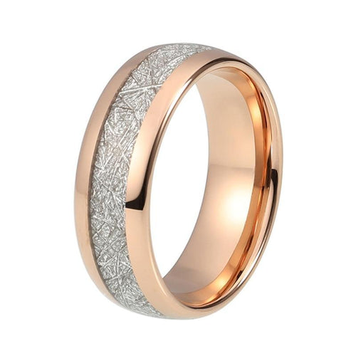 Tungsten Wedding Band Rose Gold Plated Meteorite Inlay Ring