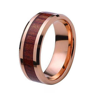 Rose Gold Plated Tungsten Wedding Nature Koa Wood Inlay Band
