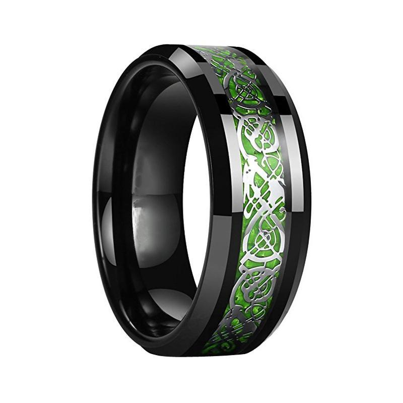 Green Inlay Carbon Fiber Dragon Tungsten Wedding and Engagement Ring - Innovato Store