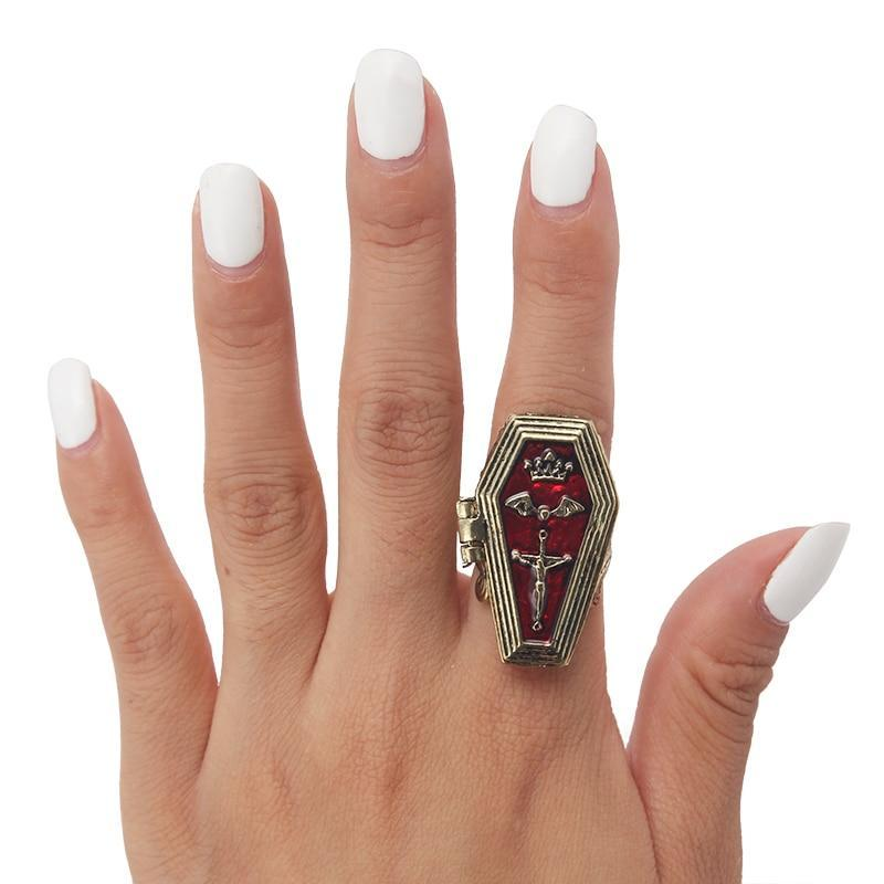 Vampire Halloween Coffin Ring for Men and Women
