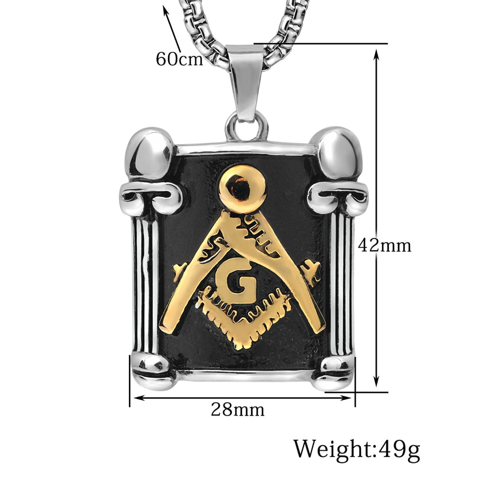 Tricolor Masonic Pendant Necklace for Men