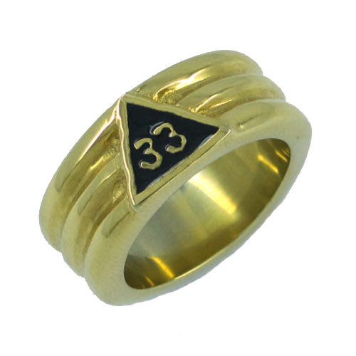 Gold Plated 33 Freemason Stainless Steel Ring for Men - Innovato Store