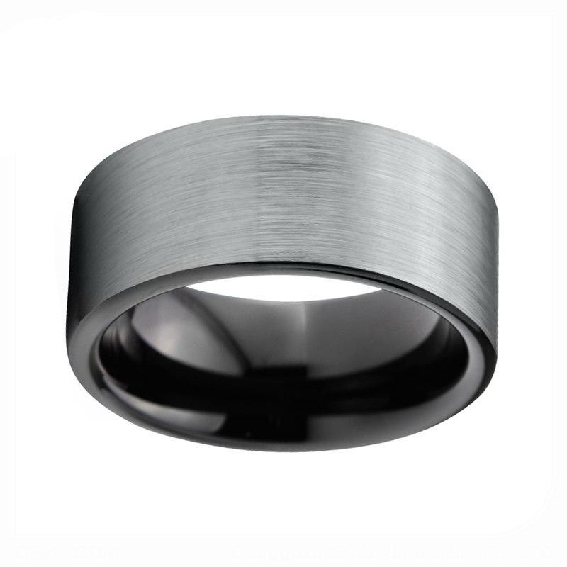 Traditional Men Black Tungsten Ring with Silver - Coated Matte Top Band