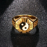Yin and Yan Stainless Steel Gold Plated Ring