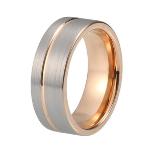 Flat Pipe Cut Brushed Silver Top Tungsten Carbide and Rose Gold Insert Wedding Ring - Innovato Store