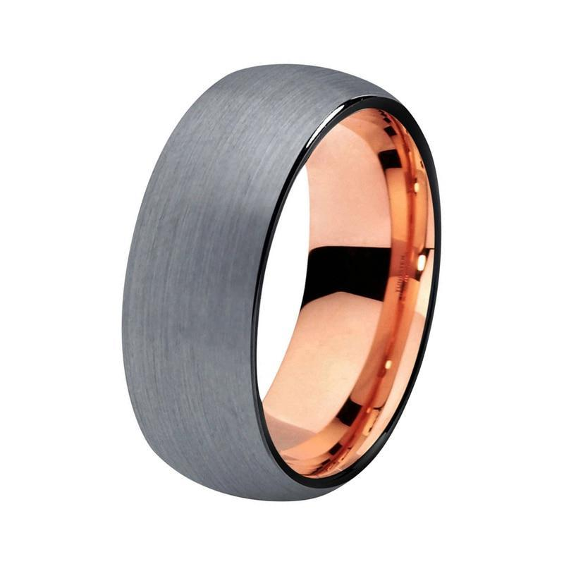 Black Brushed Tungsten Carbide with Shiny Edges and Rose Gold Plated Tungsten Interior Band