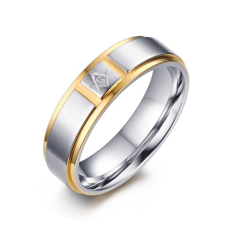 6mm Freemason Gold and Silver Coated Stainless Steel Rings - Innovato Store