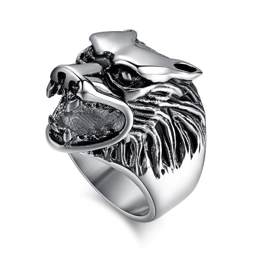 Classic Were Wolf Head Stainless Steel Ring for Men