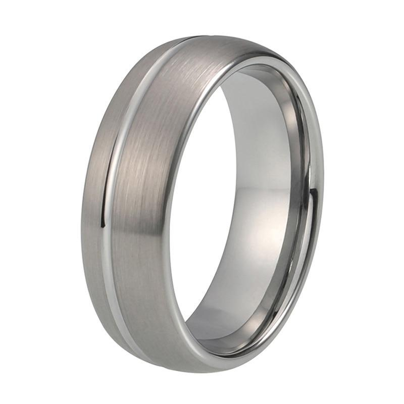 Unisex Silver Brushed Tungsten Carbide with Offset Groove Dome Shape Band