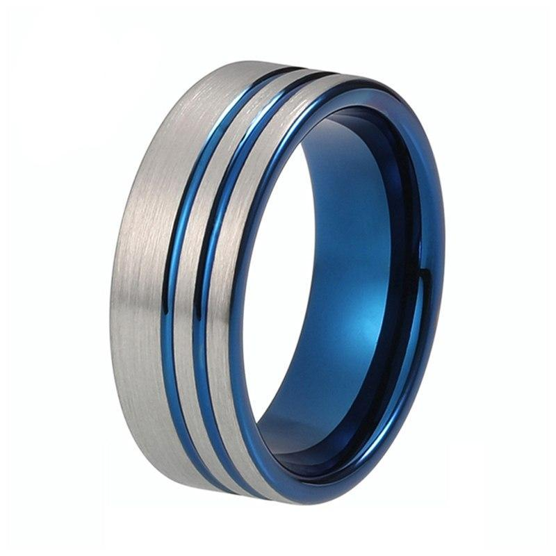 Double Groove Offset Silver Brushed Matte Blue Tungsten Carbide Wedding Ring - Innovato Store