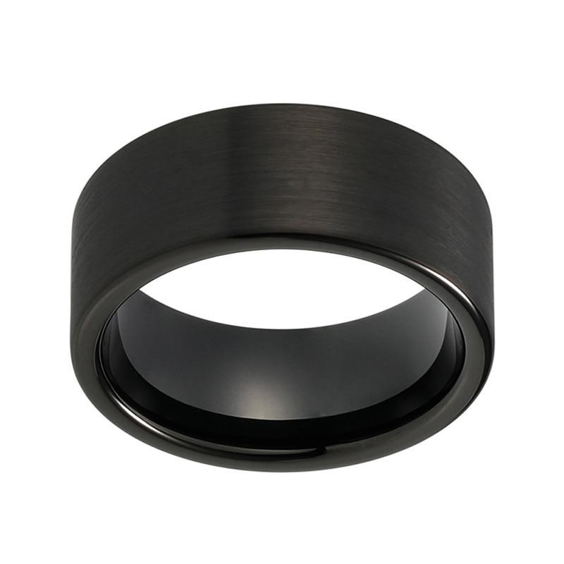 10mm Large Bold Black Pipe Cut Plated Tungsten Wedding Band - Innovato Store