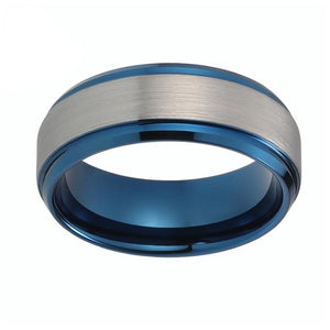 8mm Blue Stepped up Tungsten Carbide with Silver Brushed Matte Center Ring