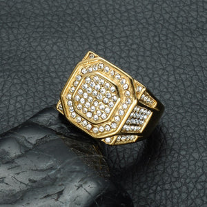 17mm Hip Hop Gold Accented Micro Pave Rhinestone Bling Hexagonal Titanium Men's Wedding Band