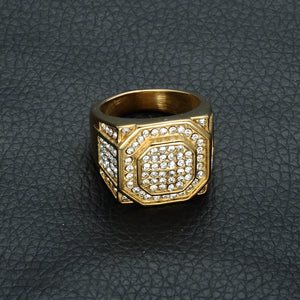 17mm Hip Hop Gold Accented Micro Pave Rhinestone Bling Hexagonal Titanium Men's Wedding Band - Innovato Store