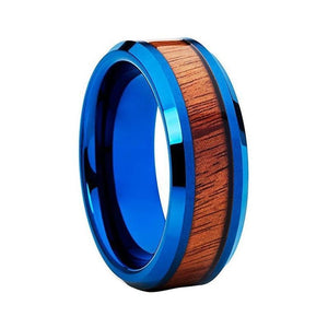 8mm Blue Flat Tungsten Ring with Turquoise Band and Wood Inlay Band