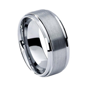 8mm White Silver Coated Tungsten Carbide Brushed Matte Ring - Innovato Store