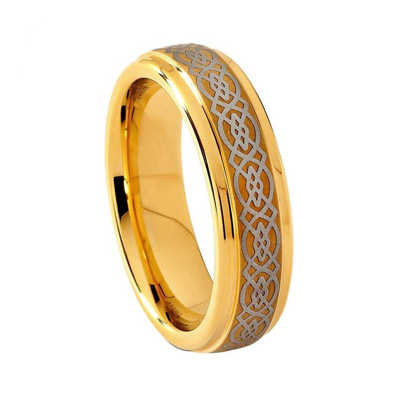 6mm Tungsten Carbide Yellow Gold-plated Celtic Design Wedding Band - Innovato Store