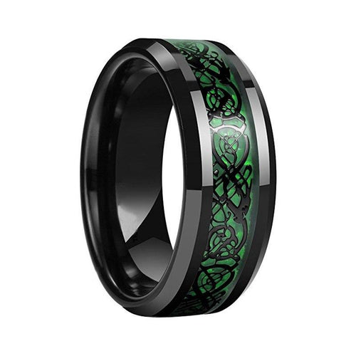 Dragon Men's Tungsten Carbide Wedding Band, Black Carbon Fiber over Green Inlay - Innovato Store