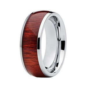 8mm Cool Wood Inlay Silver Coated Tungsten Carbide Ring