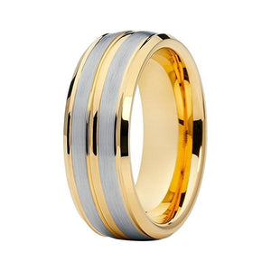 Unisex Silver Color Brushed Matte Center with Engraved Gold Coated Tungsten Stepped Ring