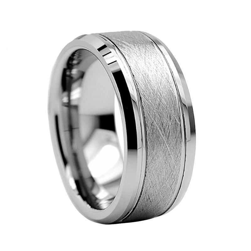 Pure Silver Coated Tungsten Metal with Brushed Matte and Beveled Polished Finish Ring