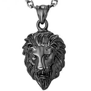 Big Lion Black Choker Pendant Necklace