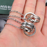 Stainless Steel Double Ring Pendant Necklace for Couples
