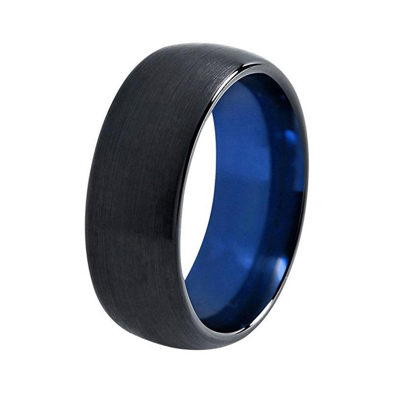 8mm Blue and Black Dome Tungsten Carbide Ring Wedding Band Brushed Finish Comfort Fit - Innovato Store