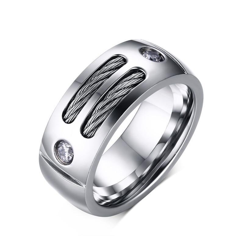 Stainless Steel Metal with Steel Wires and Cubic Zirconia Jewels Punk Ring