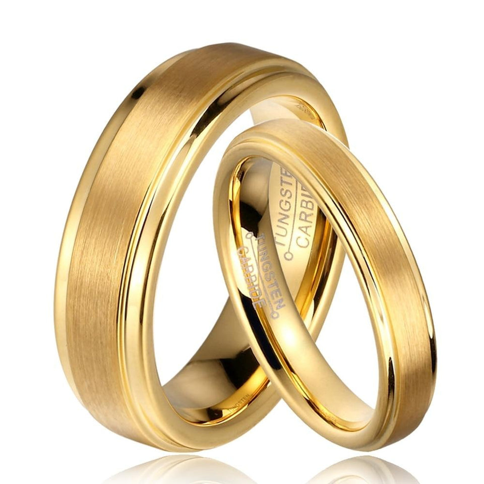 Brushed Matte Gold Tungsten Carbide with Gold-plated Edges Wedding Bands Set