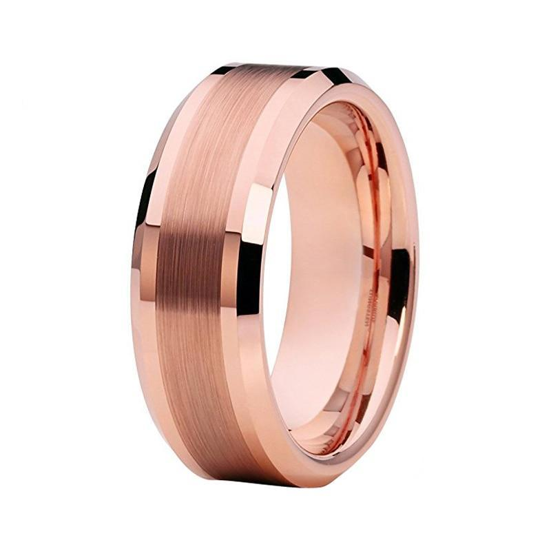 Rose Gold Plated Tungsten Carbide Metal with Brushed Matte Center Wedding Ring