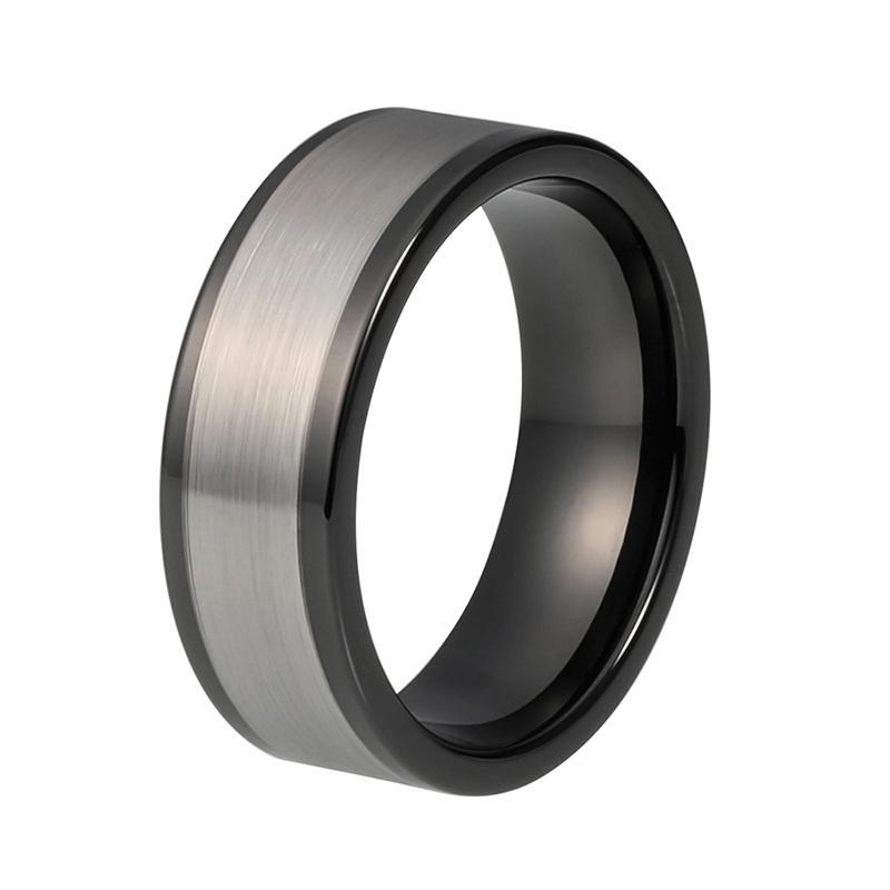 8mm Silver Matte Finish on Black Polished Tungsten Carbide Ring - Innovato Store