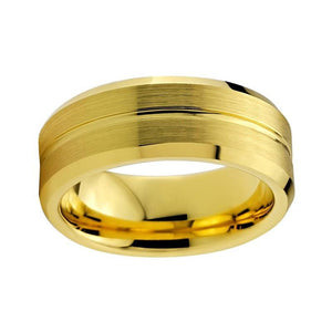 8mm Yellow Gold Plated Tungsten Carbide with Brushed Surface and Groove Wedding Ring - Innovato Store