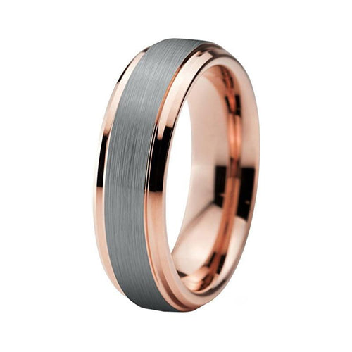Unisex Gold Color Stepped Beveled Edges with Silver Matte Center and Rose Gold Tungsten Wedding Band
