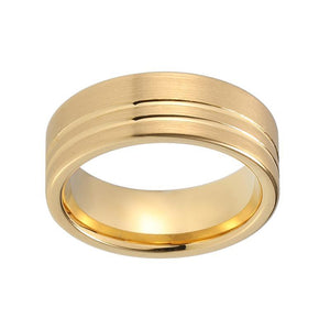 Simple Gold Pipe Cut Matte Brushed Tungsten Wedding Band