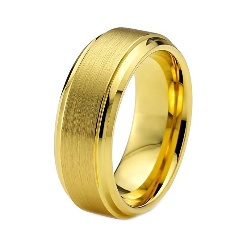 Unisex Tungsten Carbide Yellow Gold- plated Matte Brushed Wedding Band