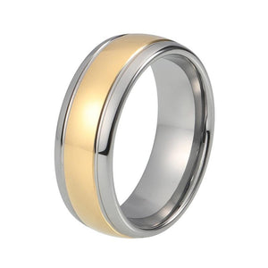 8mm Two-Tone Silver and Gold Plated Grooved, Domed Shape Tungsten Carbide Ring - Innovato Store
