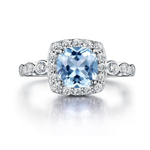 925 Sterling Silver with Aquamarine Blue Cubic Zirconia Topaz and Crystals Inset Women's Wedding Ring - Innovato Store