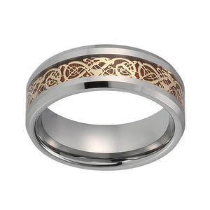 8mm Gold-Plated Koa Wood Dragon Inlay Tungsten Wedding Band - Innovato Store