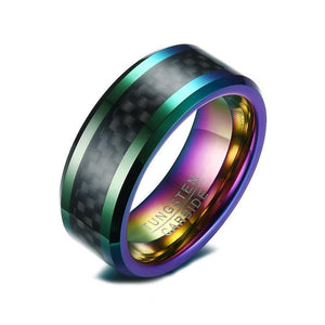 8mm Multi-Color Plated Tungsten Carbide with Carbon Fiber Inlay Wedding Ring - Innovato Store