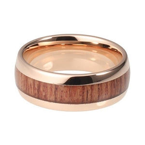 Tungsten Carbide Rose Gold Coated Domed Band with Koa Wood Inlay