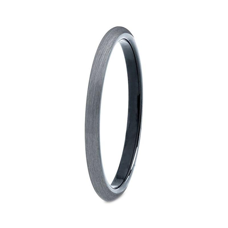 Slim Grey Matte Finish Tungsten Carbide Plain Interior Engagement Ring