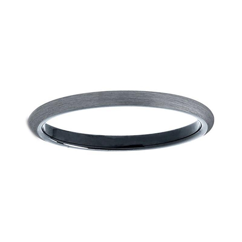 2mm Slim Grey Matte Finish Tungsten Carbide Plain Interior Engagement Ring
