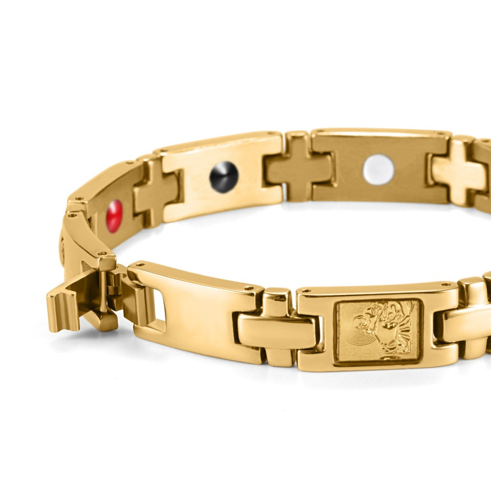 Golden Cross and Buddha Magnetic Bracelet